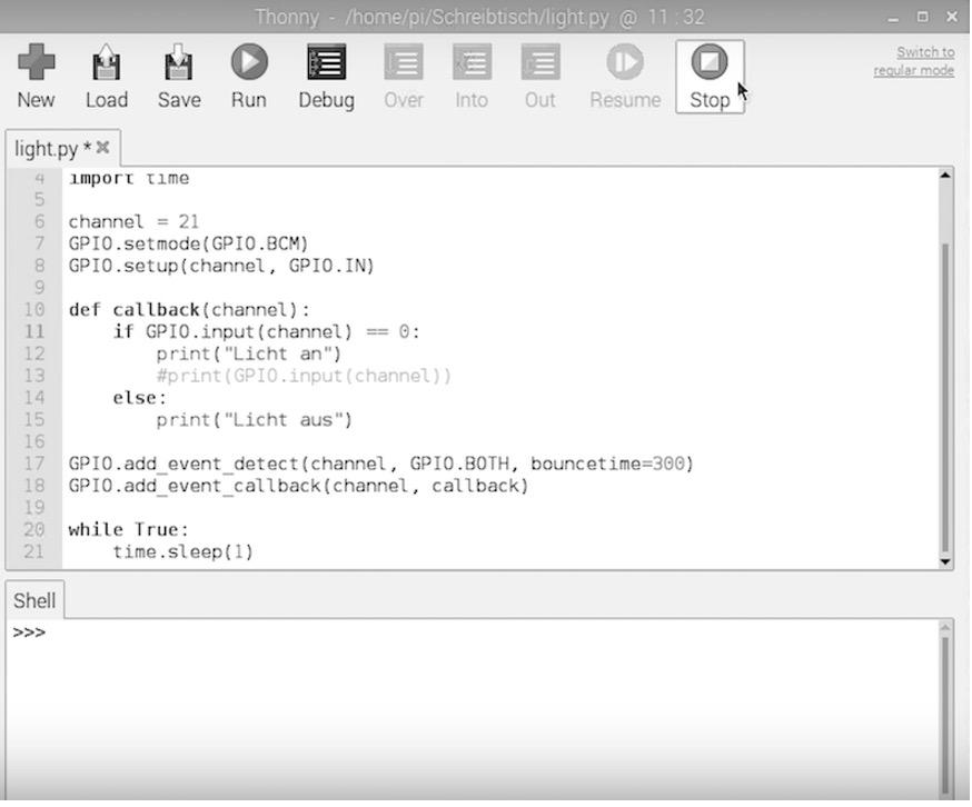 Raspberry Pi Sensor Licht-Modul Script